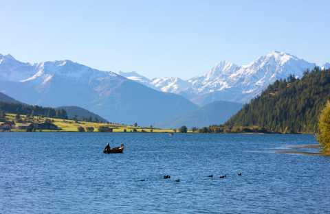 Paradise for anglers on Lake Haidersee on Reschen Pass